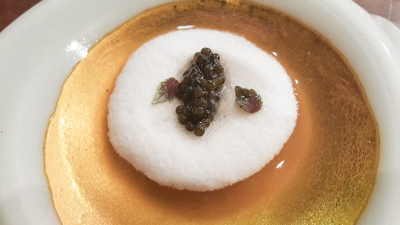 Steamed yamaimo and ossetra caviar in dashi
