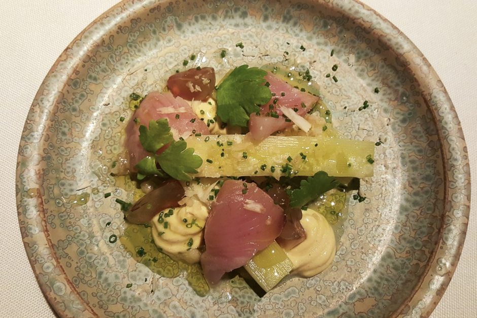 Tender leeks and marinated bonito, mustard tofu and macademia nuts Coure