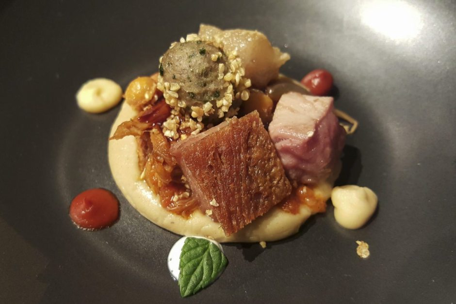 Lamb with aubergine and chickpea puree, El Celler de Can Roca