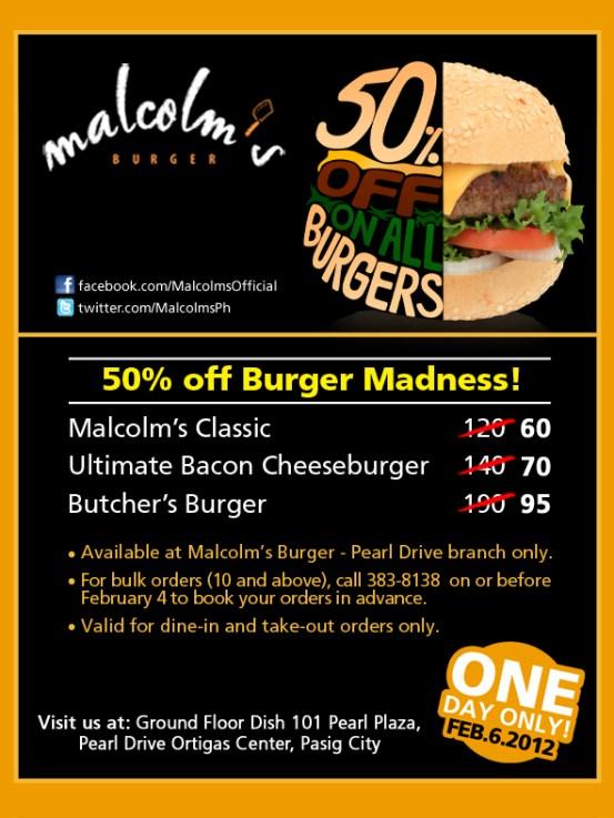 Malcolm's Burger Madness 50% Promo