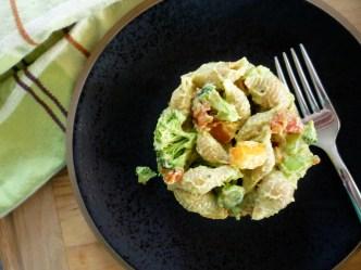 Veggie Pasta Salad with Creamy Avocado Dressing