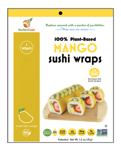 Mango-flavored sushi wrap from New Gem Foods