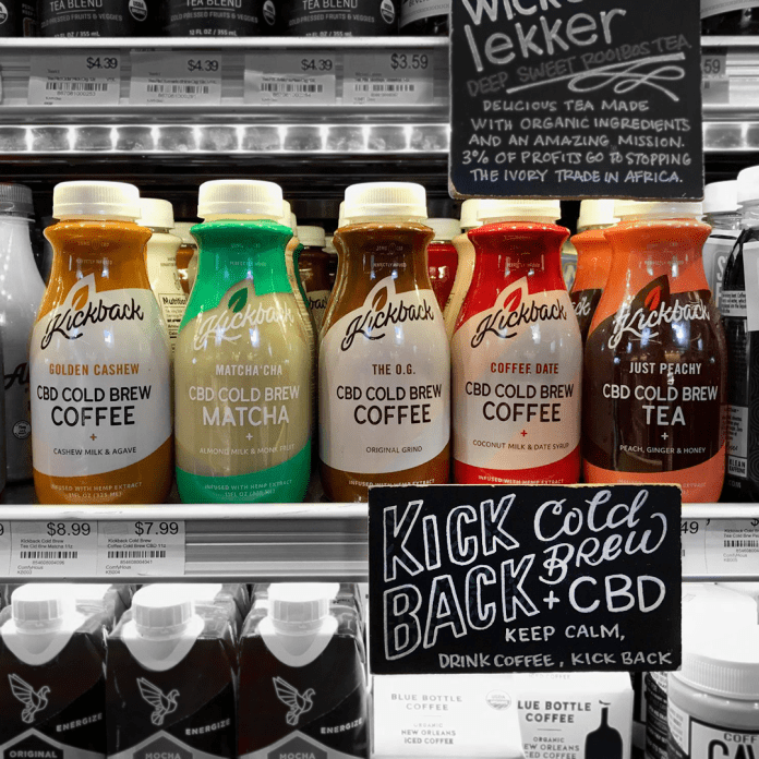 CBD infused cold brew coffee tea at a grocery store in Los Angeles California.