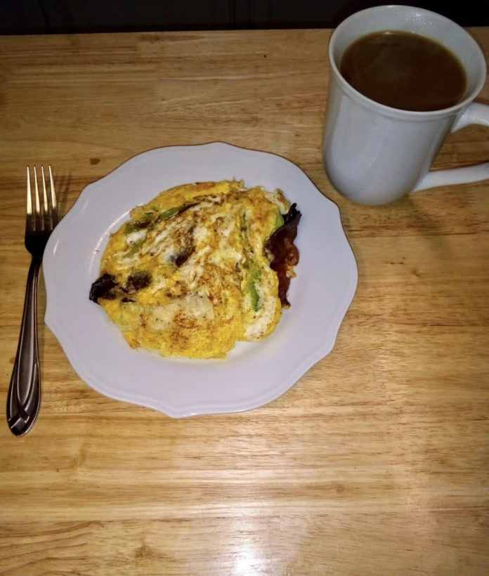 """Bacon, cabbage, and eggs """"pancake""""  for breakfast!"""