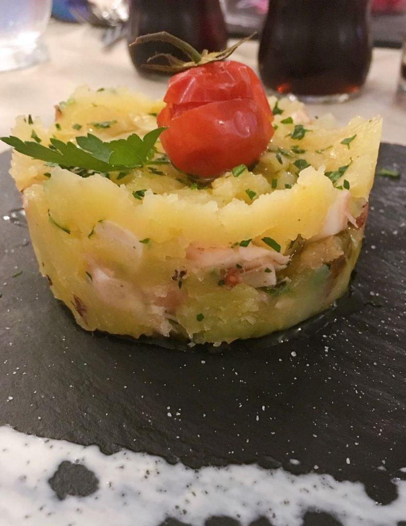 millefoglie di polipo con patate all'osteria sapori di vino