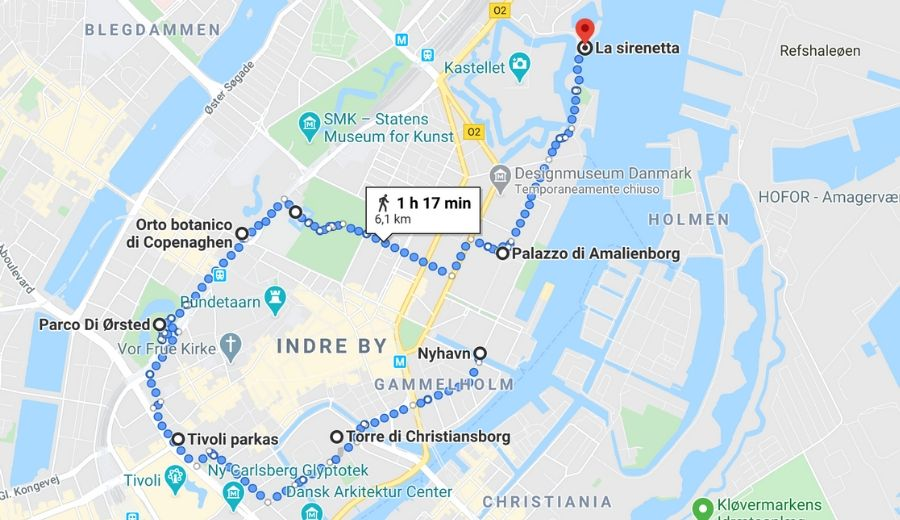 mappa copenhagen viaggio lento