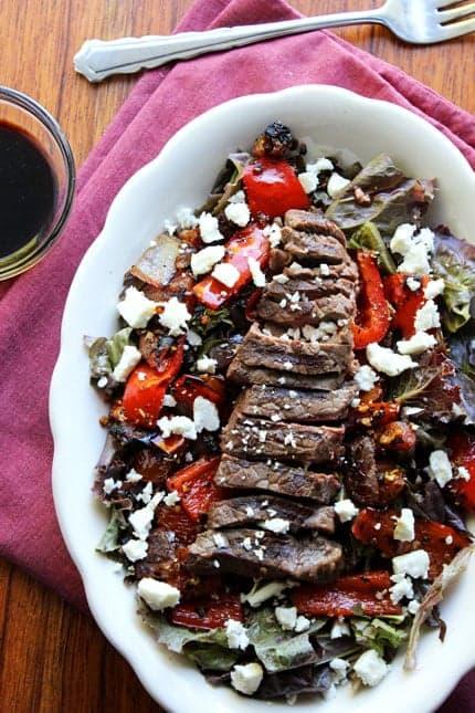 Grilled Balsamic Steak Salad-FoodFaithFitness