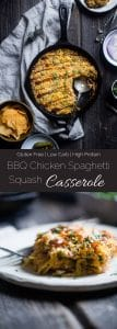 BBQ Chicken Spaghetti Squash Casserole - This low carb, gluten free casserole is cheesy, flavorful and only 214 calories! It's a kid-friendly, weeknight meal that the whole family will love! | Foodfaithfitness.com | @FoodfaithFit