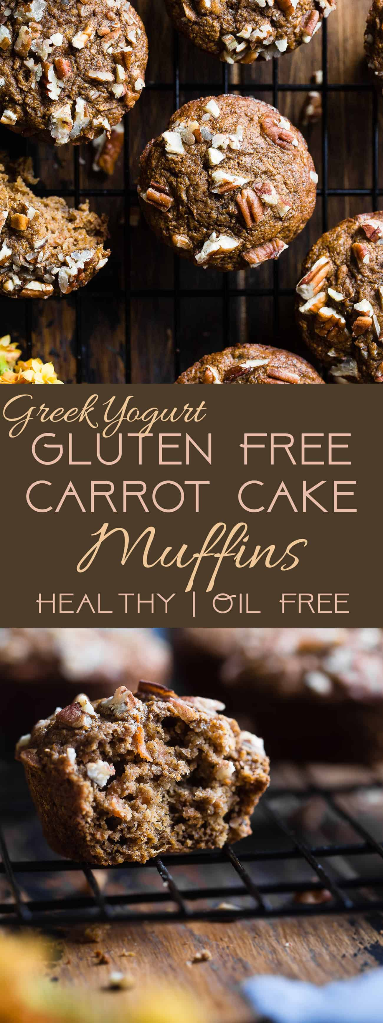 Gluten Free Healthy Carrot Cake Muffins - These easy carrot muffins are quick, simple and made from pantry-essential ingredients! Perfect for a quick breakfast or snack and use Greek yogurt instead of oil! | #Foodfaithfitness | #Muffins #Glutenfree #Healthy #Carrotcake #Greekyogurt