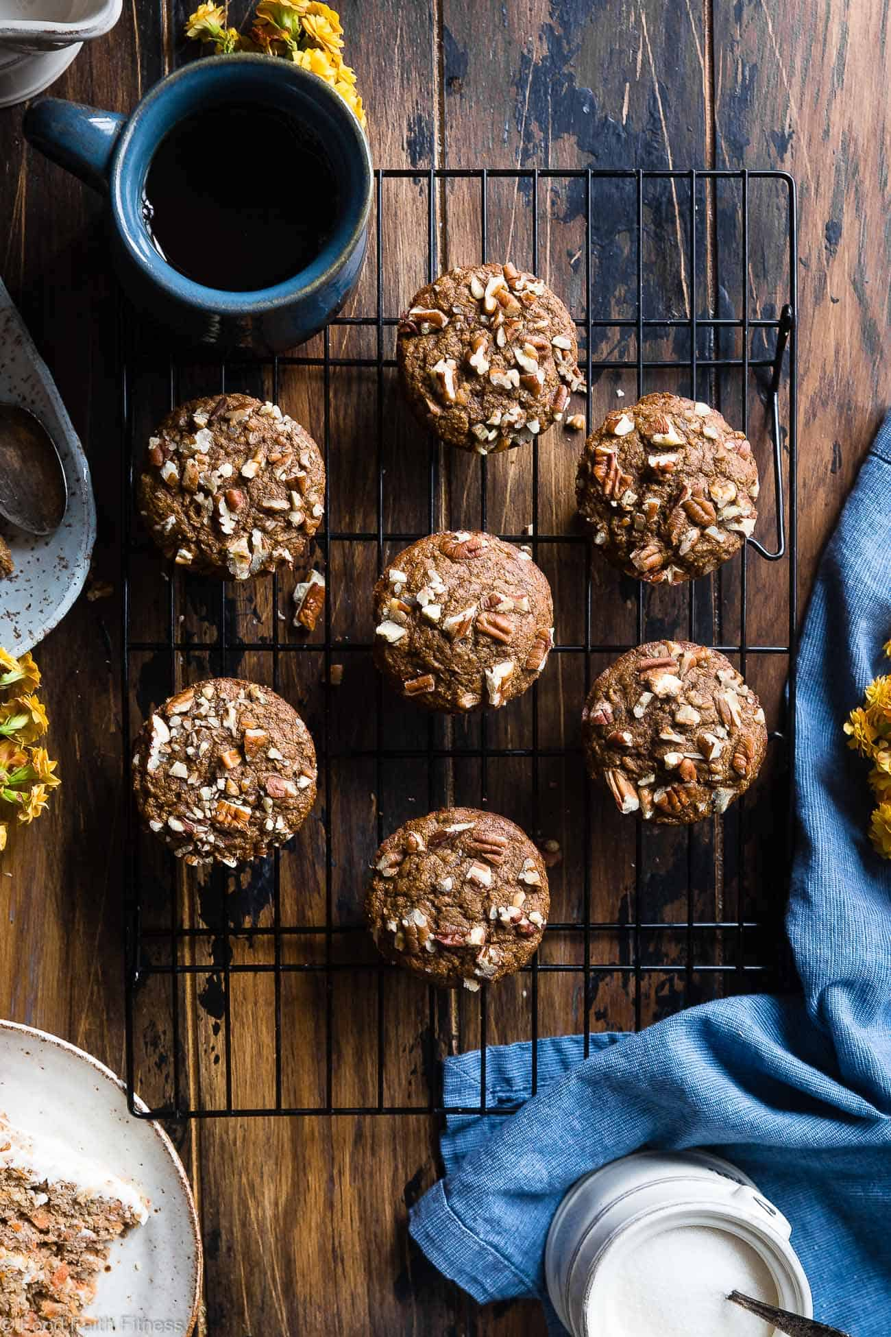 Easy Healthy Gluten Free Carrot Cake Muffins - These easy carrot muffins arequick, simple and made from pantry-essential ingredients! Perfect for a quick breakfast or snack and use Greek yogurt instead of oil! | #Foodfaithfitness | #Muffins #Glutenfree #Healthy #Carrotcake #Greekyogurt