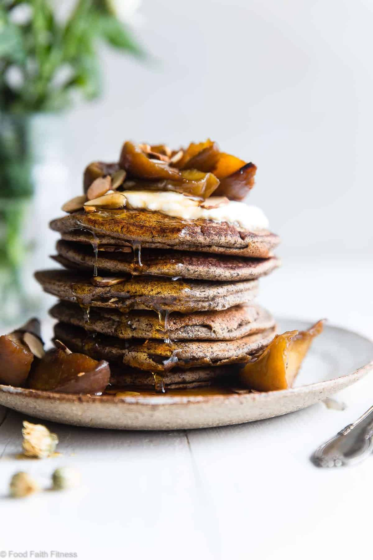 Healthy Gluten Free Buckwheat Pancakes with Roasted Peaches - SO light and fluffy that you'll never believe they're healthy, gluten free and only 170 calories a serving!  The perfect spring or summer brunch! | #Foodfaithfitness | #Glutenfree #DairyFree #Healthy #Breakfast #Pancakes