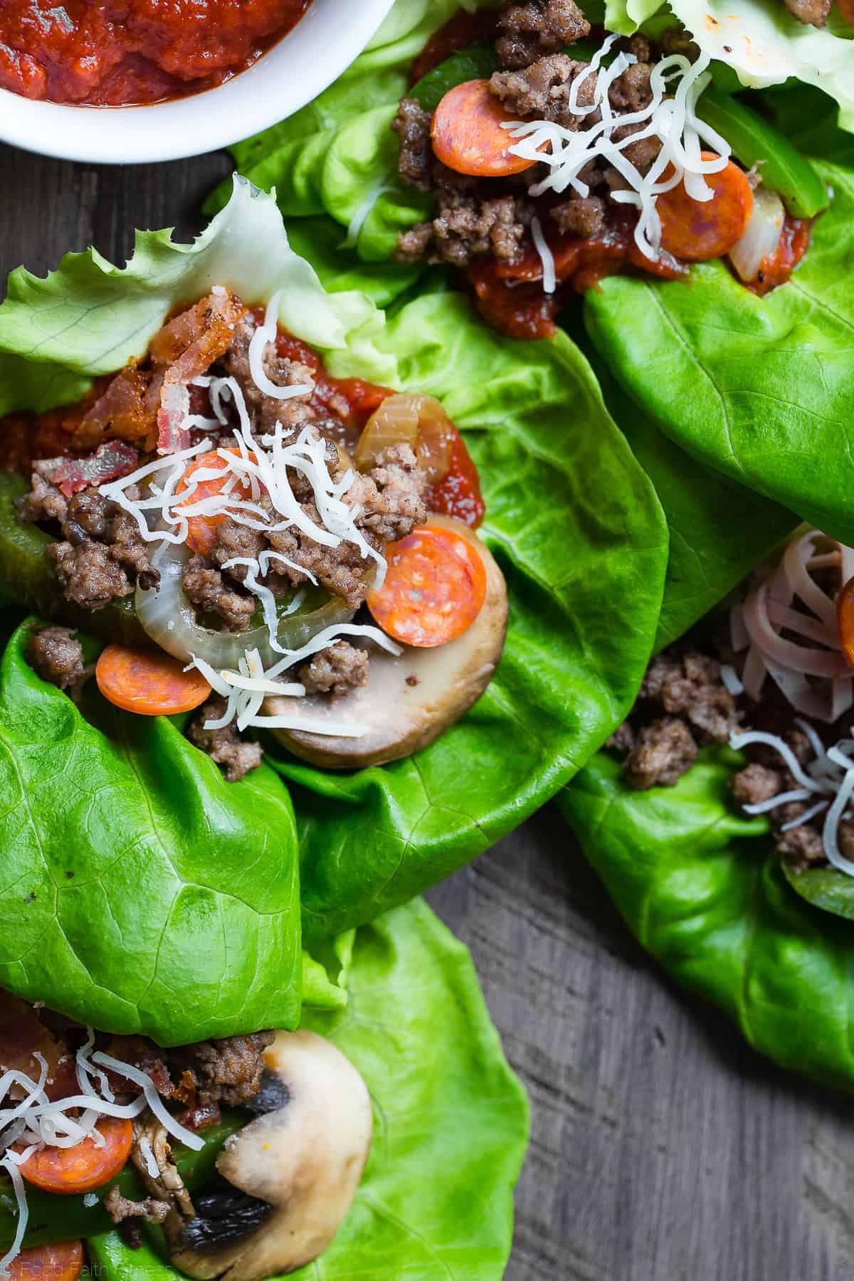 low carb lettuce wraps arranged on a table