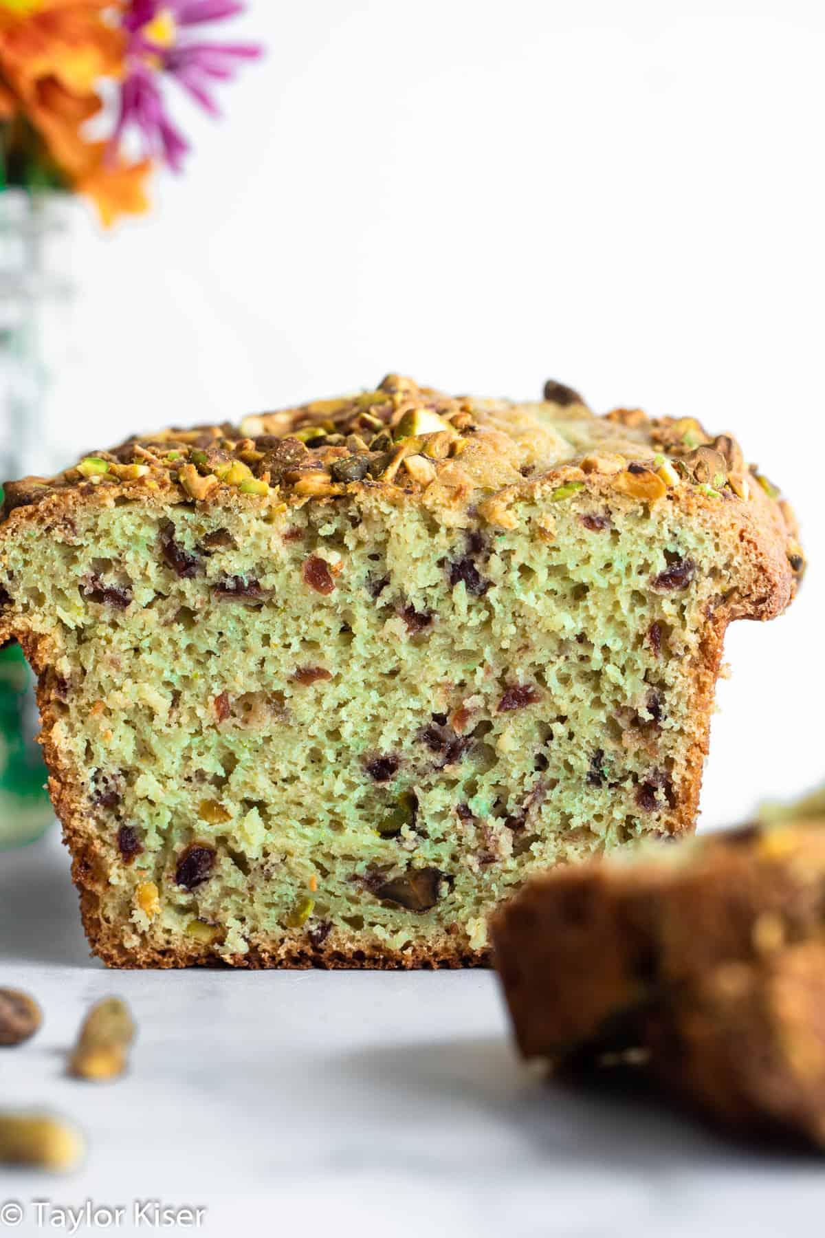 close up of cranberry pistachio bread