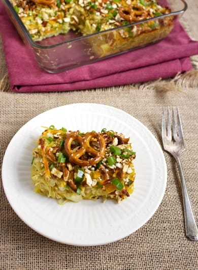 Pretzel & Honey Mustard Spaghetti Squash Casserole {Low Carb & Easily GF} - Food Faith Fitness