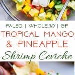 Pineapple Mango Shrimp Ceviche - A quick, easy and super healthy Ceviche Recipe that is under 150 calories, only 1 Freestyle point, paleo and whole30 friendly, gluten free and tastes like a tropical vacation! You gotta try this! | #Foodfaithfitness | #Glutenfree #Paleo #WeightWatchers #Whole30 #Healthy