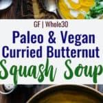 Foto de colagem de sopa de abóbora Paleo Butternut