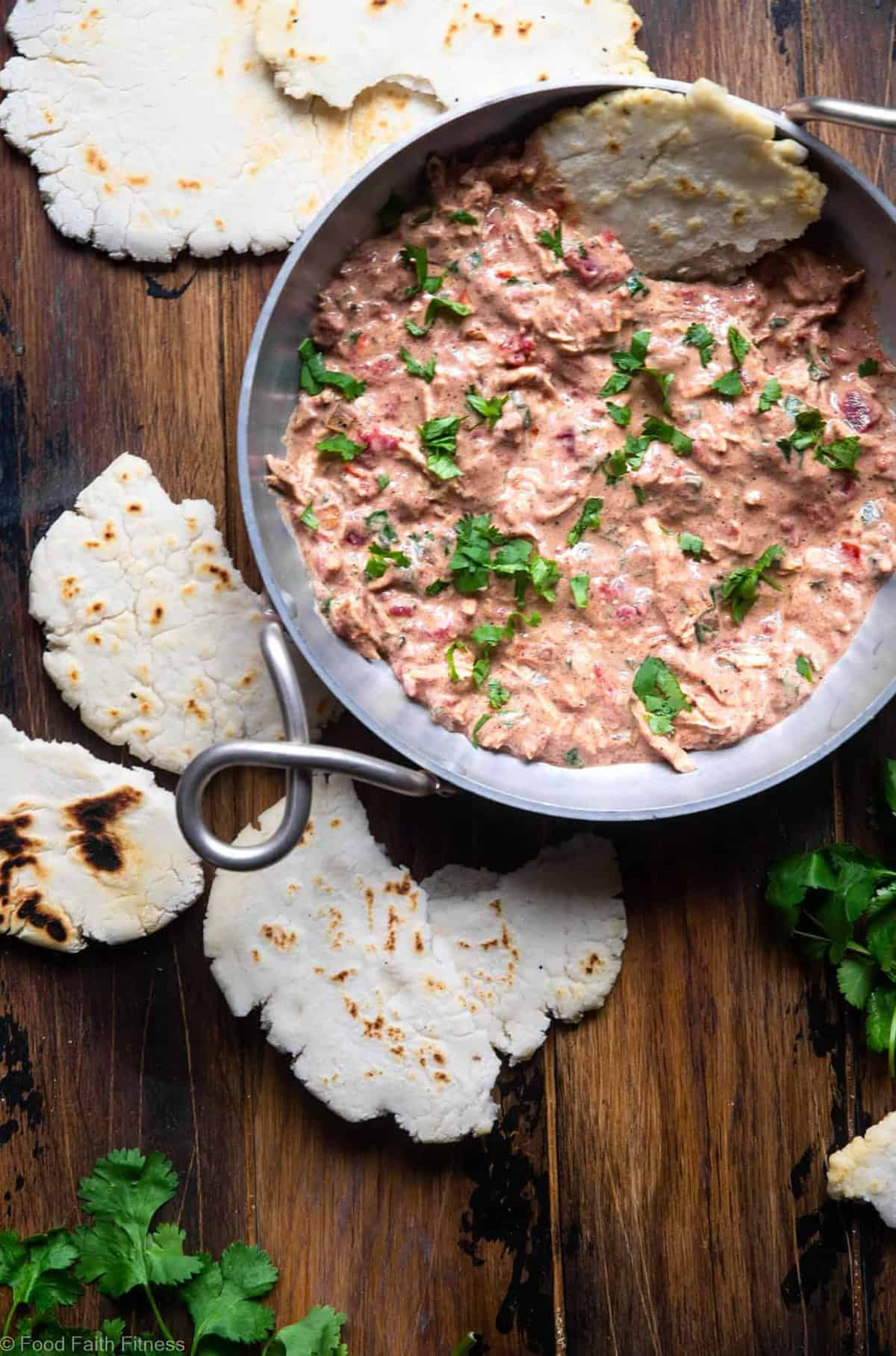 Butter Chicken Dip with Gluten Free Naan Bread - an easy, healthy, gluten free and protein packed twist on the classic served with an easy no yeast gluten free naan bread! Great for snacks or party appetizers! | #Foodfaithfitness | #Glutenfree #Eggfree #Butterchicken #Indian #Healthy