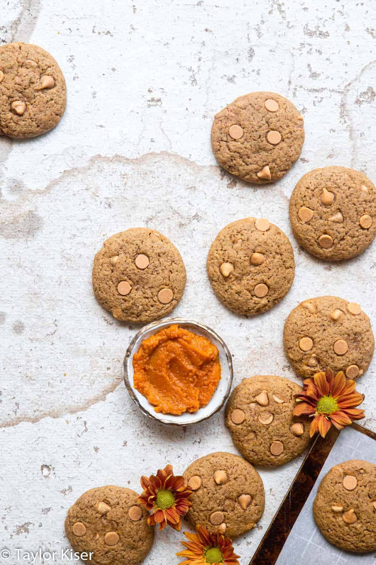 healthy pumpkin cookies on a table with flowers