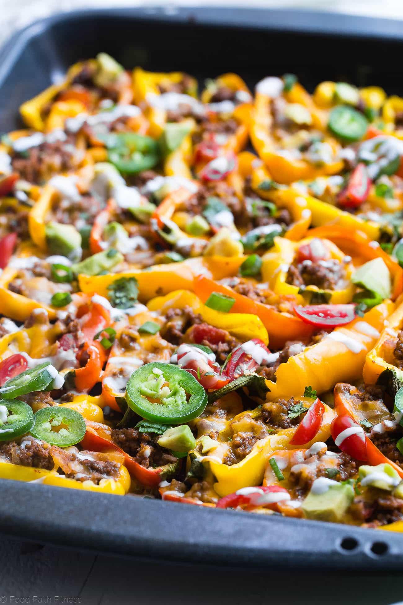 Mini bell pepper nachos on a table. Recipe on Foodfaithfitness.com