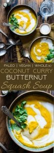Coconut Curry Roasted Butternut Squash Soup -This spicy, paleo and vegan butternut squash soup is so creamy you'll never believe it's healthy, whole30 compliant and gluten and dairy free! | Foodfaithfitness.com | @FoodFaithFit