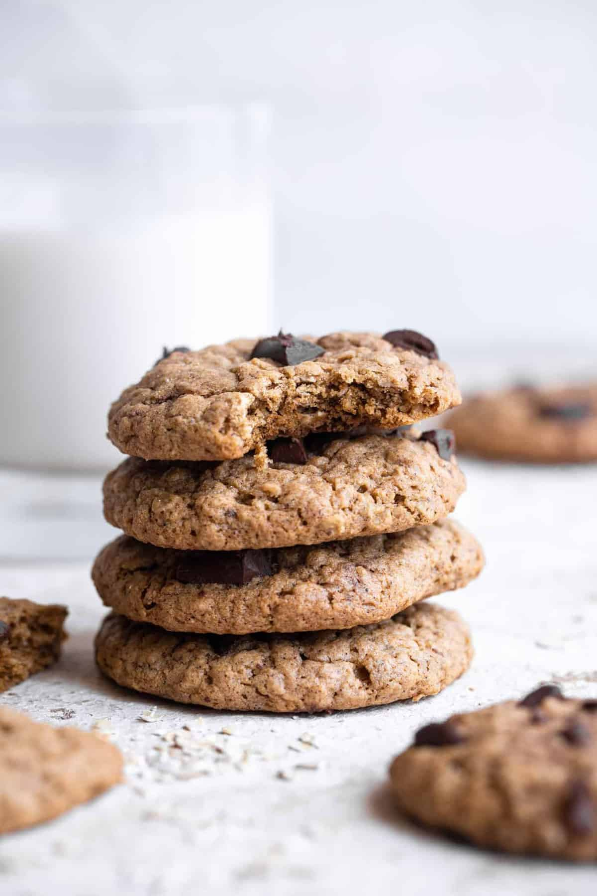 A stack of oatmeal butter cookies on a table