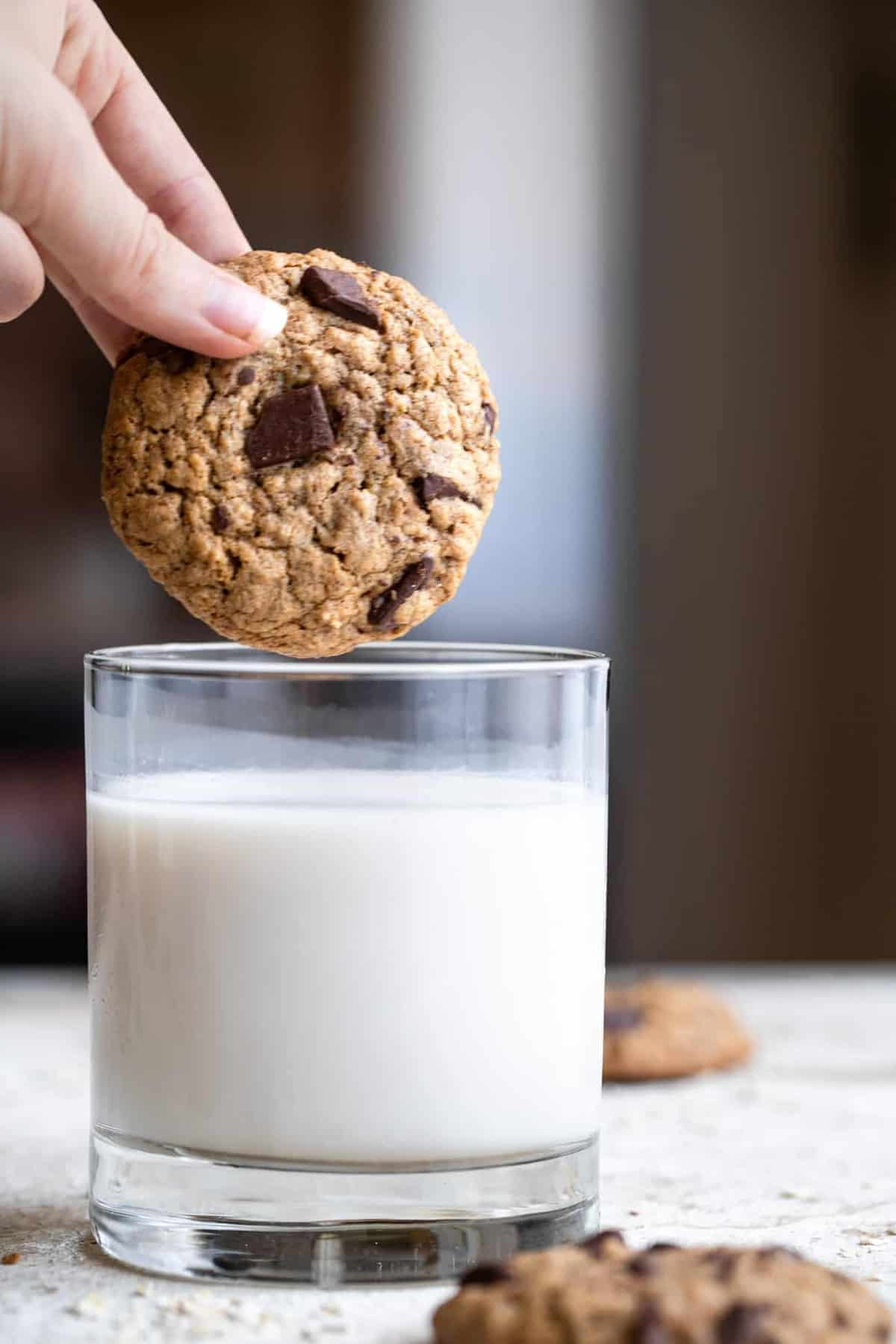 dunking brown butter oatmeal cookies in milk