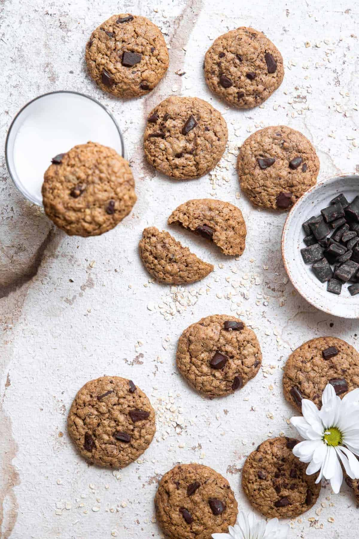 overhead of brown butter oatmeal cookies on a table