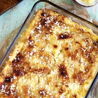 Skinny Piña Colada Bread Pudding With Coconut Whiskey Sauce - Food Faith Fitness