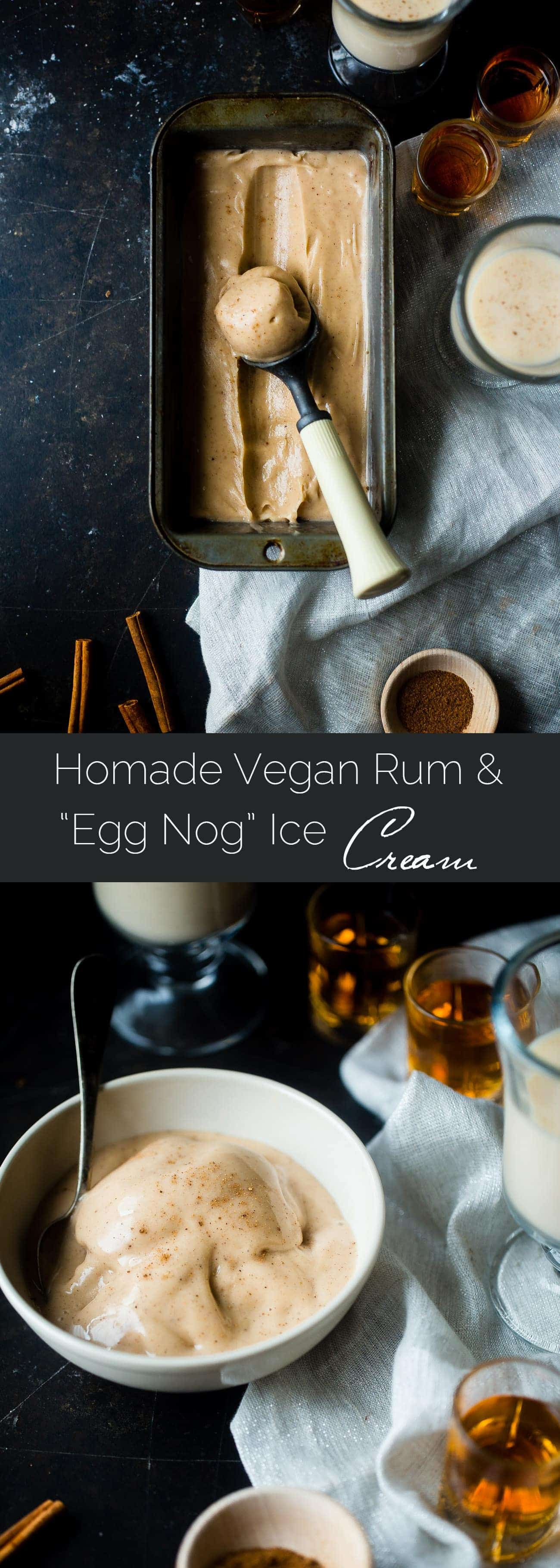"""Vegan Rum and """"Egg Nog"""" Ice Cream - This creamy, coconut milk ice cream tastes like frosty version of drinking a rum and eggnog...without the dairy or eggs! It's a healthy treat for the holidays! 