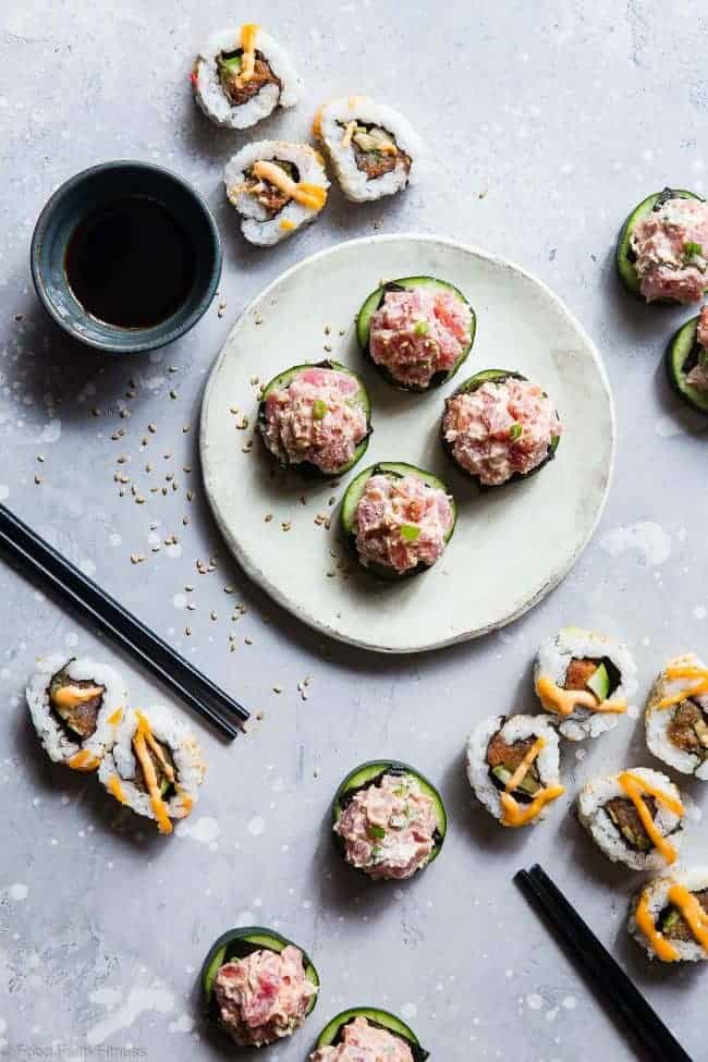 Low Carb Spicy Tuna Bites -  These quick and easy, 6 ingredient spicy tuna bites are a healthier spin on the classic spicy tuna roll that has all the taste without the fat or carbs. Perfect for a light lunch with 0 Freestyle Smartpoints! | #Foodfaithfitness | #Lowcarb #Glutenfree #Healthy #Greekyogurt #Keto