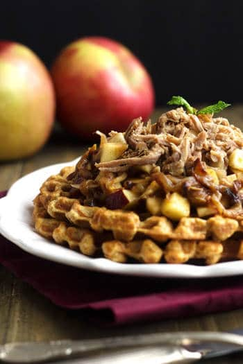 Skinnier Cornbread Waffles With Pulled Pork And Maple Apple Chutney {Whole Wheat} - Food Faith Fitness