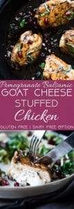 Balsamic Pomegranate Goat Cheese Stuffed Chicken - A  healthy and gluten free dinner, loaded with superfoods! Both picky husbands and kids love this dinner and it feels like a fancy restaurant but is quick and easy enough for weeknights! | Foodfaithfitness.com | @FoodFaithFit