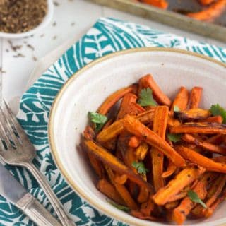Coconut Cumin Roasted Carrots {Gluten Free + Low Fat} - Food Faith Fitness