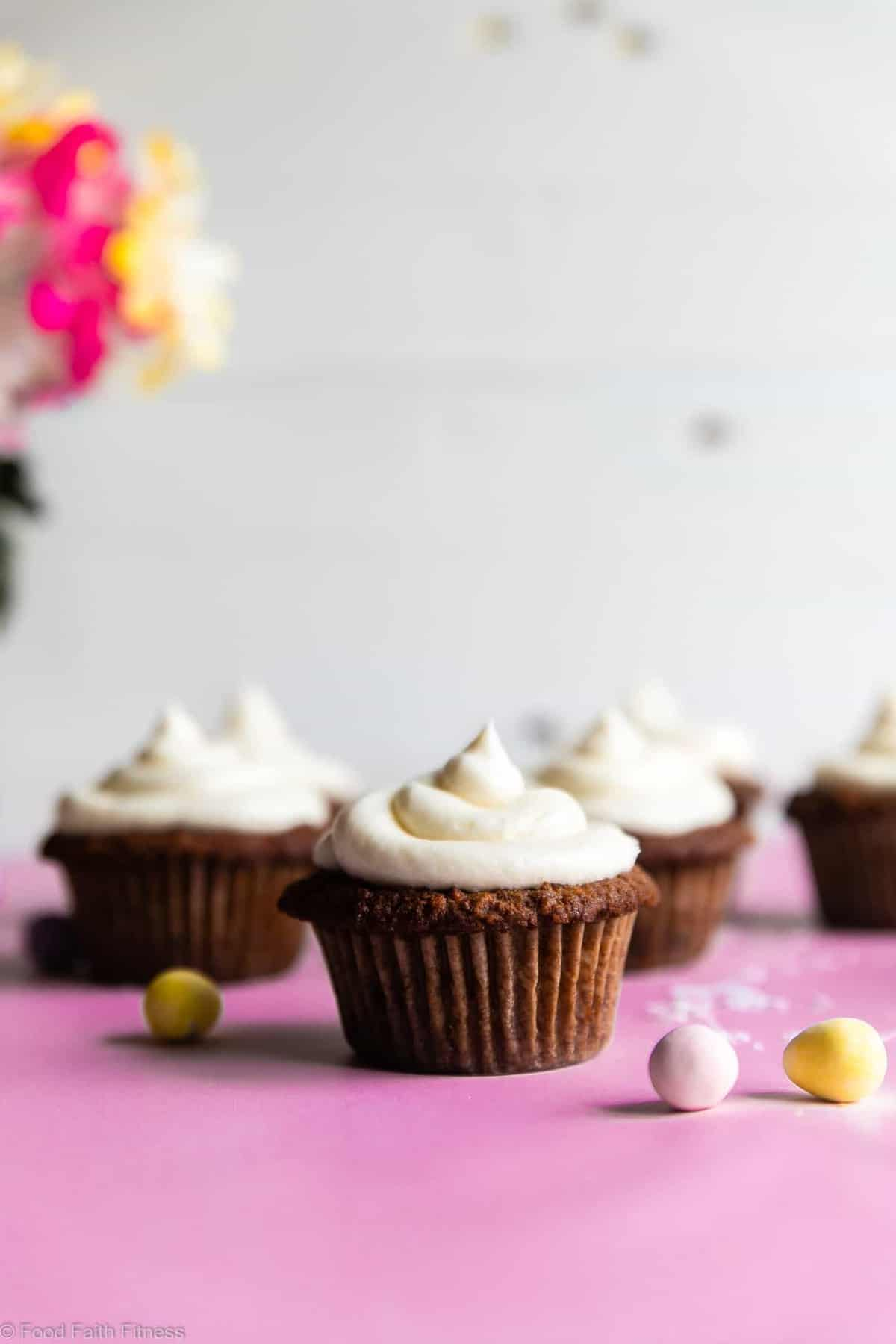 Gluten Free Carrot Cake Cupcakes Recipe - These Gluten Free Carrot Cake Cupcakes are tender, light, moist and perfectly spicy-sweet! No one will believe they are gluten free! Dairy free option included! | #Foodfaithfitness |