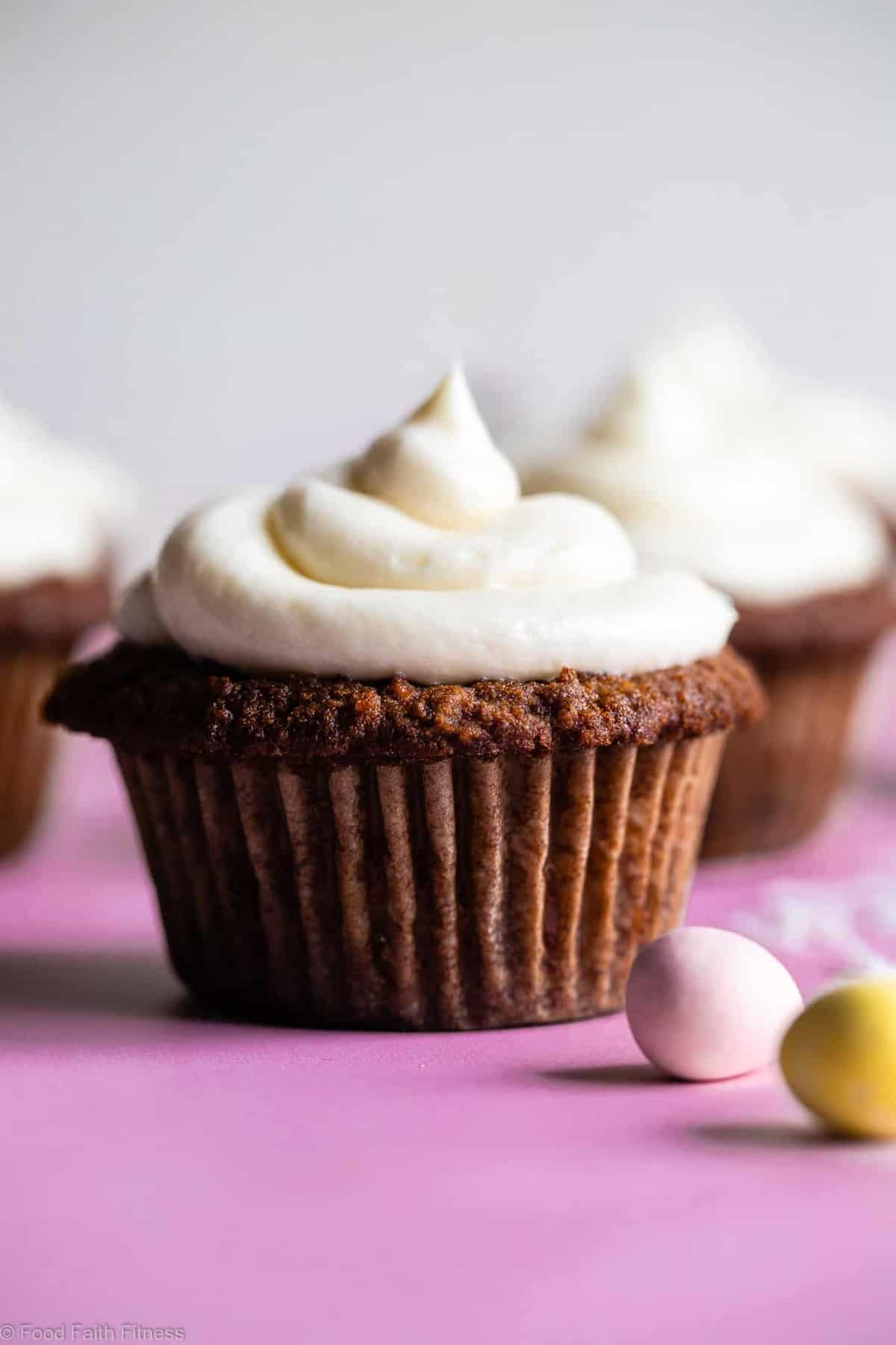 Gluten Free Carrot Cake Cupcakes - These Gluten Free Carrot Cake Cupcakes are tender, light, moist and perfectly spicy-sweet! No one will believe they are gluten free! Dairy free option included! | #Foodfaithfitness |