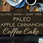 Gluten Free Apple Cinnamon Coffee Cake - This gluten free coffee cake is made with almond flour, apples and naturally sweetened with coconut sugar. Its a healthy, paleo and freezer-friendly breakfast that you will never believe is butter and oil free! | Foodfaithfitness.com | @FoodFaithFit
