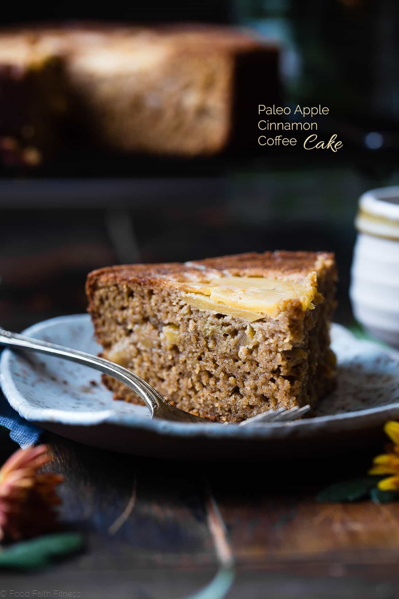 Gluten Free Apple Cinnamon Coffee Cake -This paleo apple gluten free coffee cake is made with almond flour, apples and naturally sweetened with coconut sugar. Its a healthy, paleo and freezer-friendly breakfast that you will never believe is butter and oil free! | Foodfaithfitness.com | @FoodFaithFit