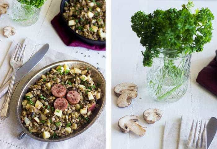 Rice, Lentil and Apple Salad with Chicken Sausage {GF, Low Fat + High Protein} - Food Faith Fitness