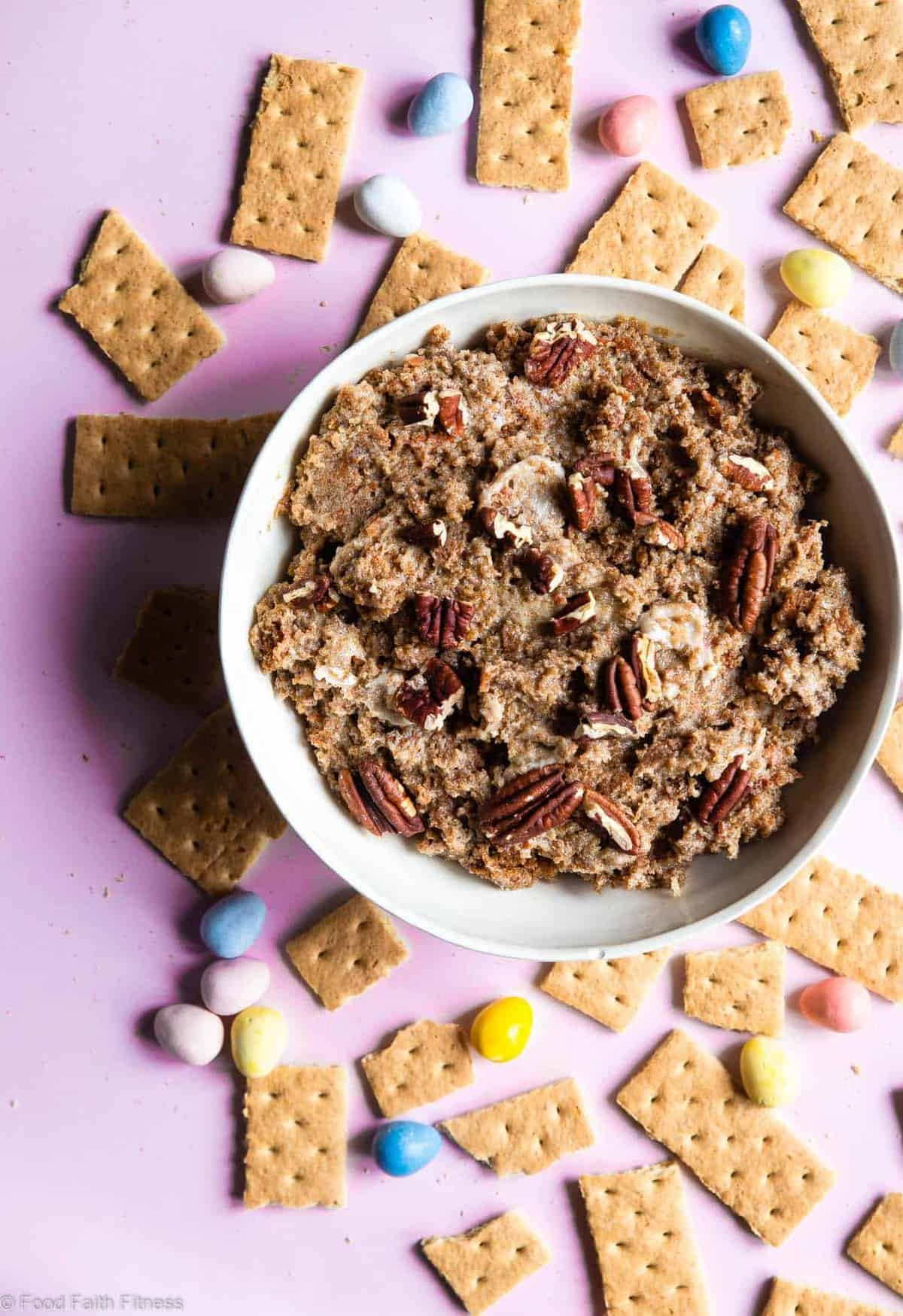 Gluten Free Carrot Cake Dip -This Gluten Free Coconut Flour Carrot Cake Dip is the EASIEST dessert you will ever make and is a huge crowd pleaser! Dairy free option included too! | #Foodfaithfitness | #Glutenfree #Healthy #Dairyfree #Easter #CarrotCake