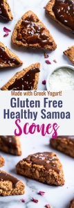 Healthy Gluten Free Samoa Scones with Greek Yogurt - These Healthy Gluten Free Scones are an easy, better for you breakfast that tastes like a scone and a Samoa cookie had a baby! Dairy free option included! | #Foodfaithfitness | #Glutenfree #Dairyfree #Healthy #Scones #Breakfast