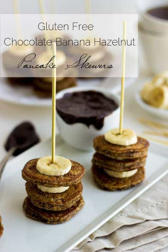 Banana Hazelnut Pancake Skewers with Chocolate Dip - Food Faith Fitness