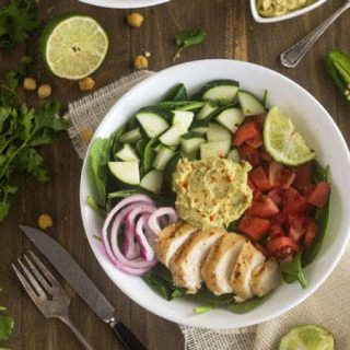 Panera Hummus Chicken Power Salad Copy Cat {GF, Low Fat, Low Calorie, Easy + High Protein} - Food Faith Fitness