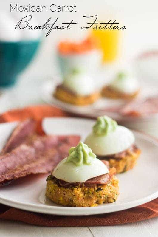 Mexican Carrot Fritters with Bacon and Egg #glutenfree #Brunchweek #Healthy #Breakfast #Recipe - Food Faith Fitness