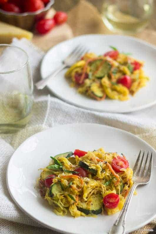 Spaghetti Squash Primavera {GF, Low Calorie, Low Fat, Low Carb + High Protein} - Food Faith Fitness