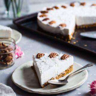 Gluten Free Dairy Free Carrot Cake Cheesecake - This easy cake has a healthy carrot cake bottom and a no-bake, dairy and no sugar added cheesecake topping! Only 150 calories and perfect for Easter! | #Foodfaithfitness | #Glutenfree #Dairyfree #Sugarfree #Carrotcake #Easter