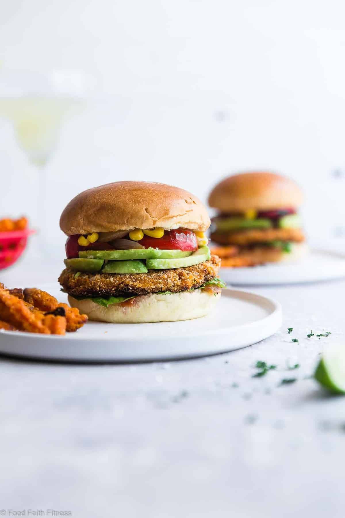 Mexican Sweet Potato Veggie Burgers - These easy homemade sweet potato veggie burgers are made from sweet potatoes coated with crunchy panko and finished with creamy avocado and grilled vegetables! Gluten free, vegan friendly and SERIOUSLY amazing! | #Foodfaithfitness | #Glutenfree #Vegan #Healthy #Veggieburger #DairyFree