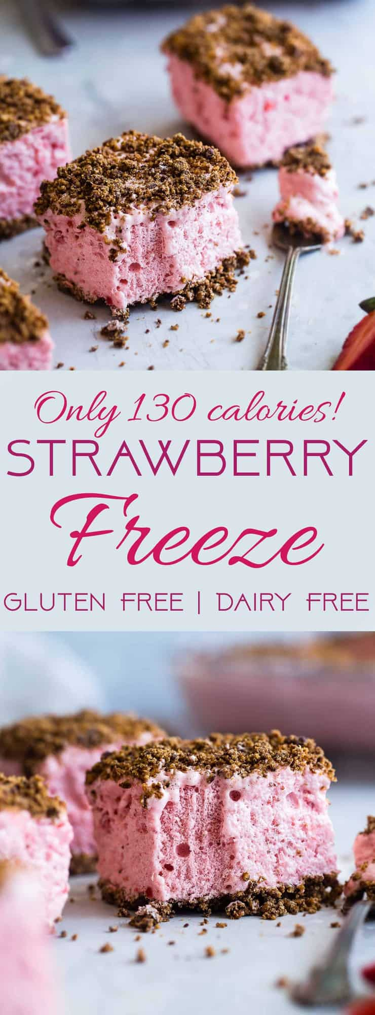 Strawberry Freeze - A low calorie, quick and easy, gluten free healthy Frozen Strawberry Dessert Recipe with a crunchy, pecan crumble! Always a hit with kids and adults and everyone always wants the recipe! | #Foodfaithfitness | #Glutenfree #Dairyfree #Healthy #Strawberries #Dessert