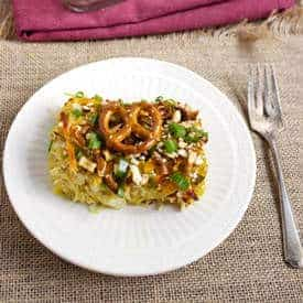 Pretzel + Honey Mustard Spaghetti Squash Casserole - Food Faith Fitness