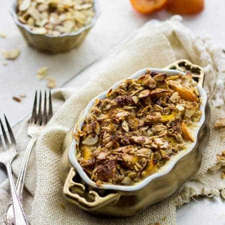 Healthy French Toast Bake with Peaches and Almond Streusel {Whole Wheat} - Food Faith Fitness