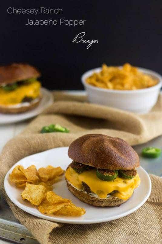 Cheesy Jalapeno Ranch Burger - Your new favorite #burger! - Food Faith Fitness | #SayCheeseburger #shop